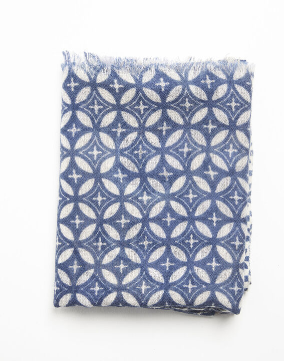 Foulard marine imprimé en laine felicia
