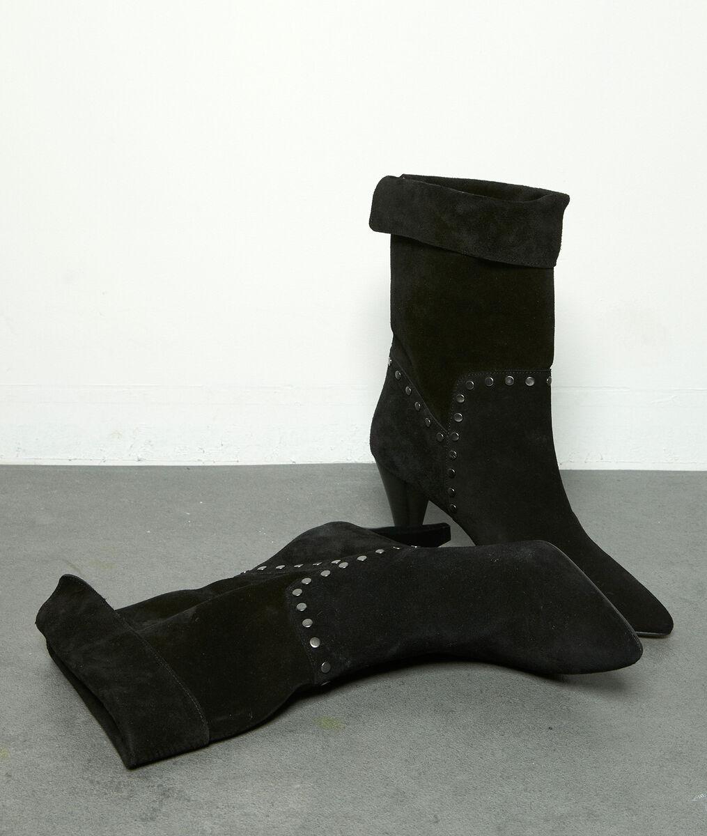 Boots à talon en cuir velours clouté noir Hedgar PhotoZ | 1-2-3