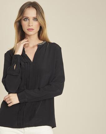 Zwarte blouse van zijde met plooi en fantasiekraag celeste noir.
