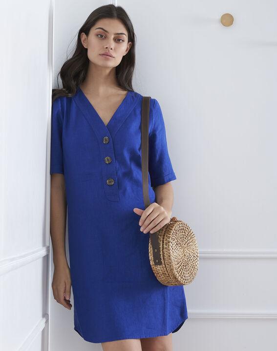 Robe bleue en lin Loanne (1) - Maison 123