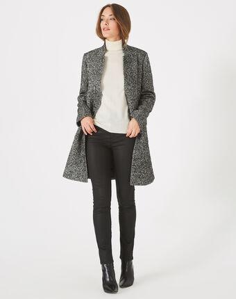 Manteau noir et blanc chiné col cranté java noir/blanc.