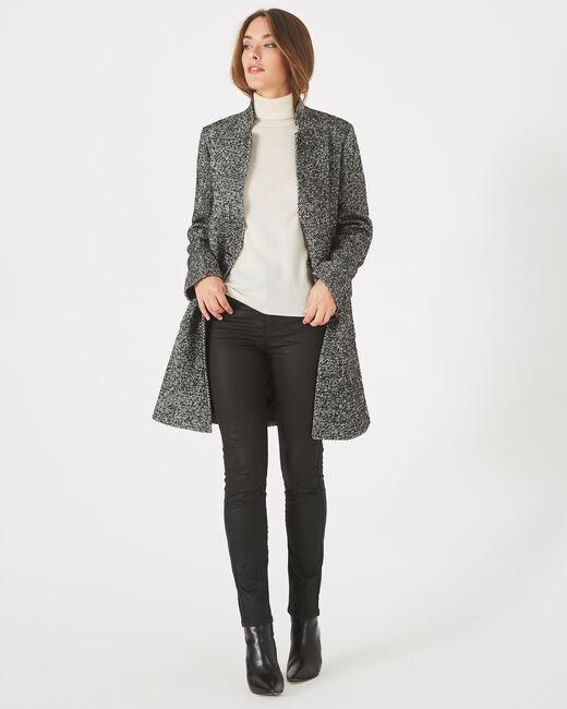 Manteau noir et blanc chiné col cranté Java (2) - 1-2-3
