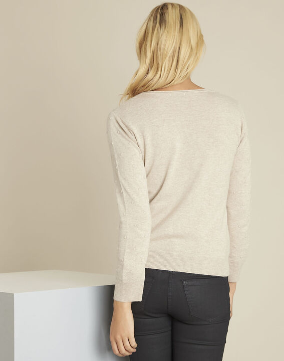 Beebop beige crew neck wool mix pullover (4) - Maison 123