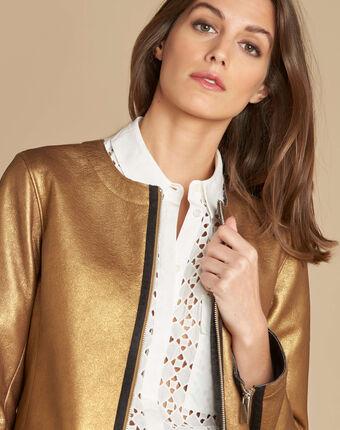 Festive jacket with grosgrain detailing bronze.