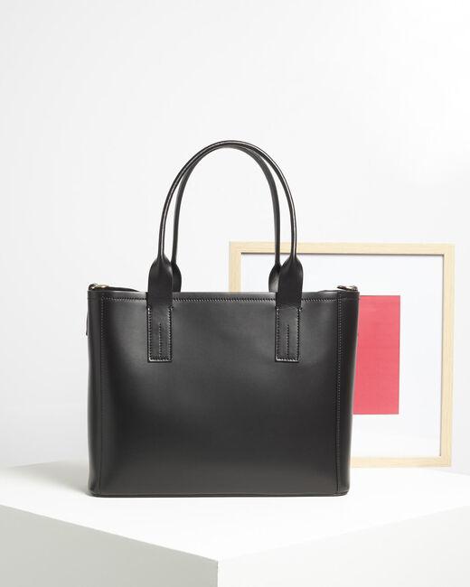 Schwarzer Leder-Shopper Debbie (1) - 1-2-3