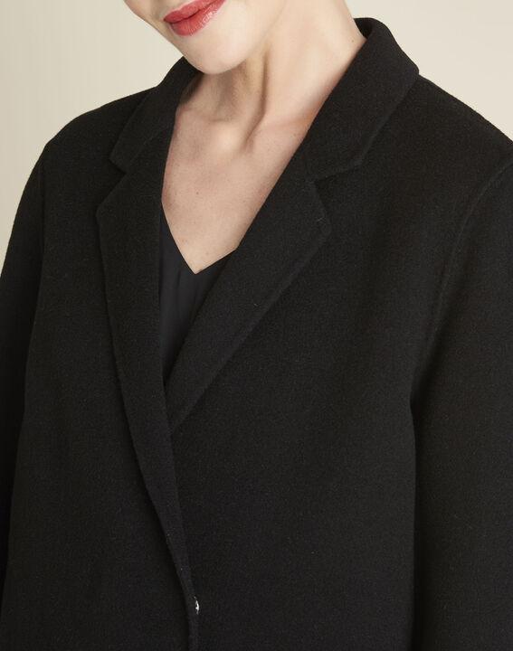 Langer schwarzer Mantel aus Wollgemisch Edgar (3) - 1-2-3