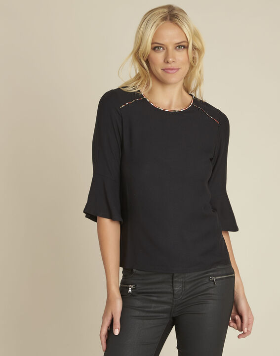 Cheyenne black bi-material blouse with decorative neckline PhotoZ | 1-2-3