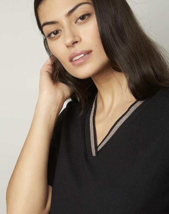 Tee-shirt noir encolure V en lurex Pluie (4) - Maison 123