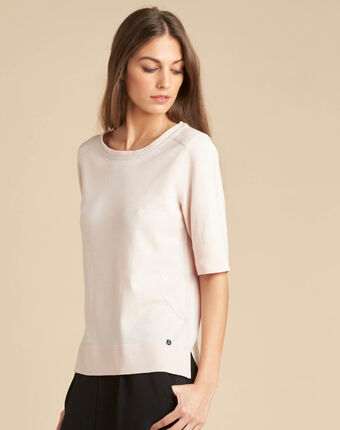 Nevada pale pink short-sleeved sweater in wool and silk dark pink.