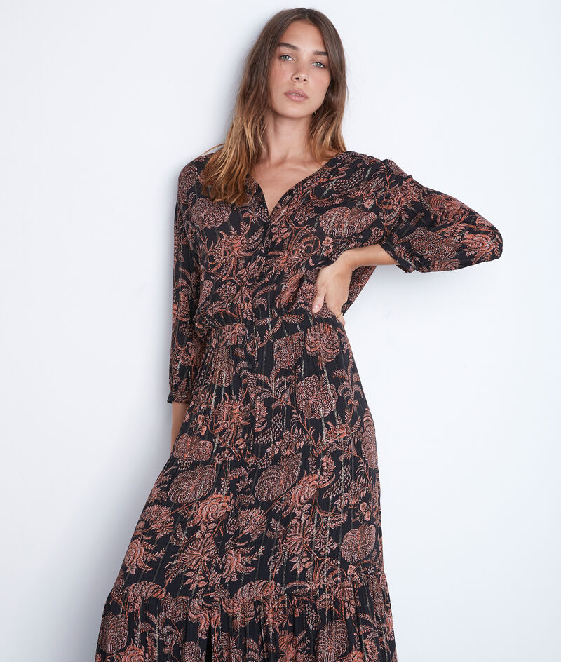 Robe chemise longue imprimée noire et orange Laly PhotoZ | 1-2-3