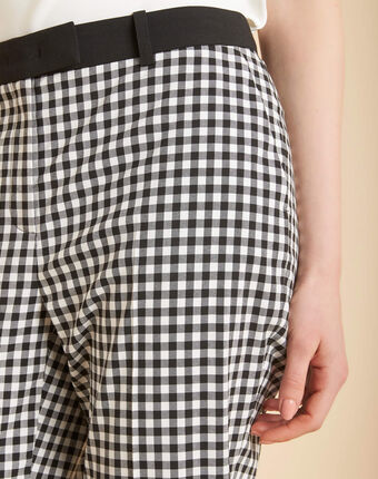 Pantalon imprimé vichy rubis noir/blanc.