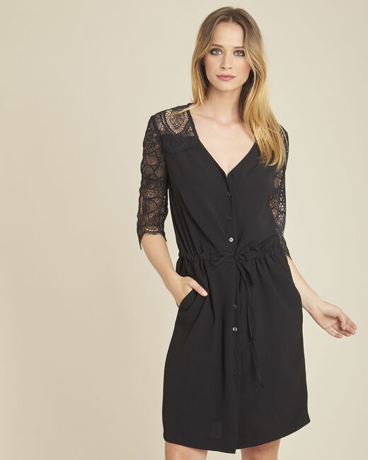 Dune two-tone black dress with lace detailing (2) - 1-2-3