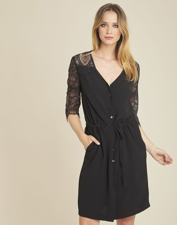 Schwarzes Kleid im Materialmix mit Spitzenärmeln Dune PhotoZ | 1-2-3