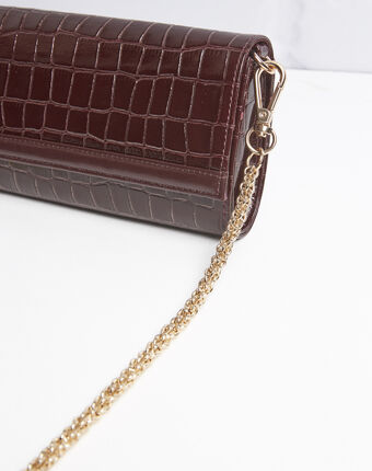 Isabelle crocodile effect red leather clutch bag terracotta.
