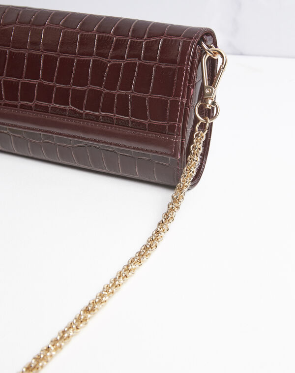 Isabelle crocodile effect red leather clutch bag (1) - 1-2-3