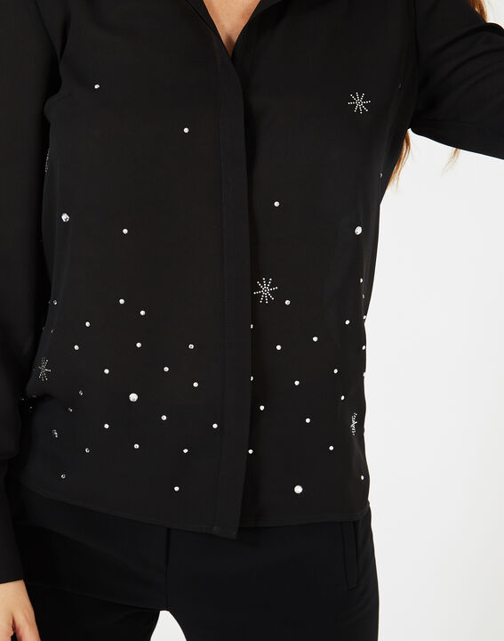 Chemise noire ornée de cristaux Swarovski Yasmine (3) - 1-2-3