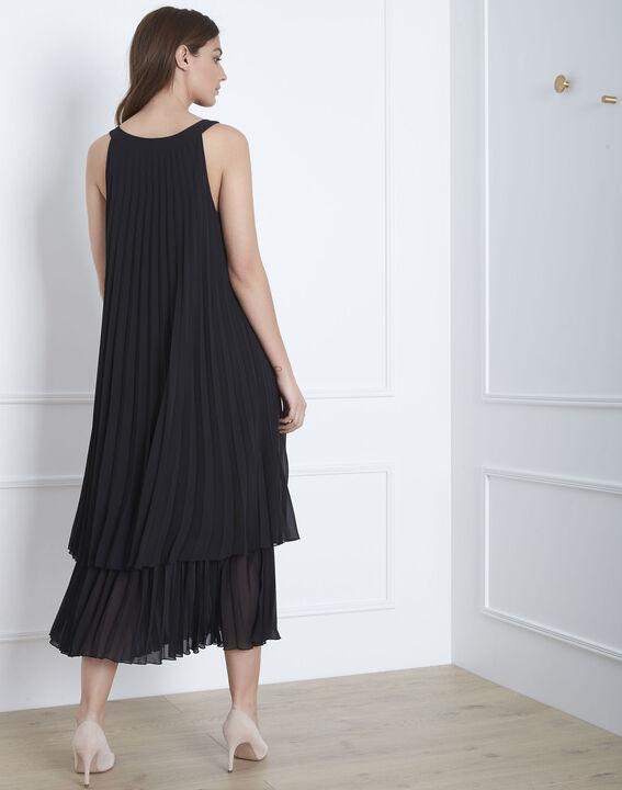 Langes plissiertes schwarzes Kleid Nice (4) - 1-2-3