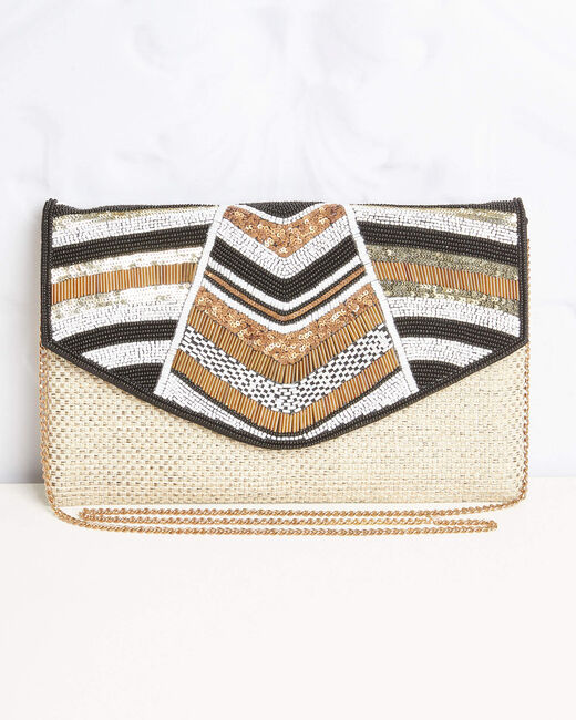 Donatella embroidered straw-effect chain shoulder bag with beading and sequins (1) - 1-2-3