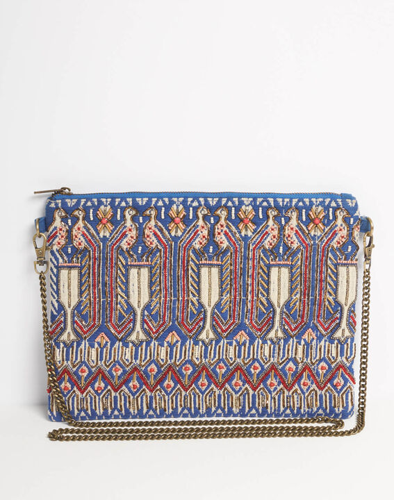 Dakota embroidered shoulder bag with chain and beading (2) - 1-2-3