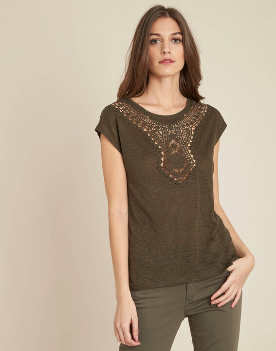 Elise khaki openwork T-Shirt with lace (3) - 1-2-3