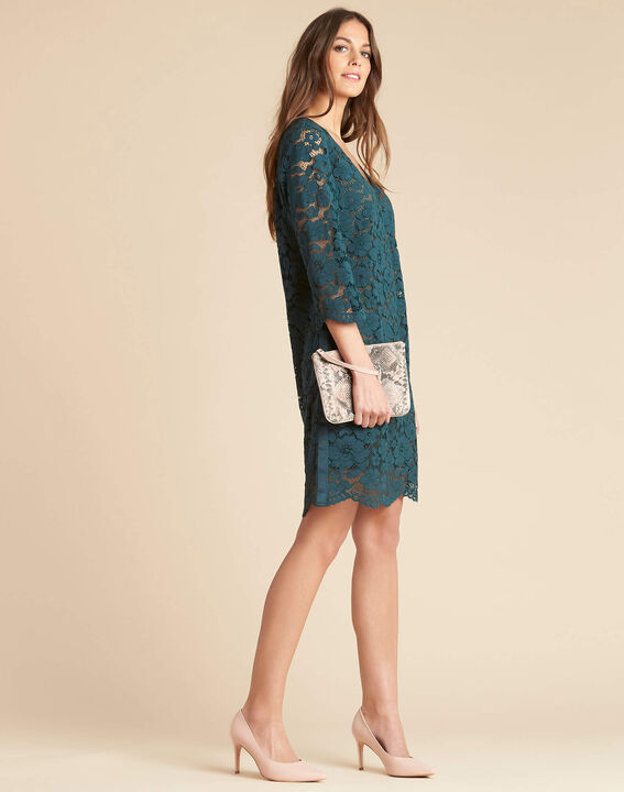 Poésie forest green dress with lateral bands in lace (3) - 1-2-3