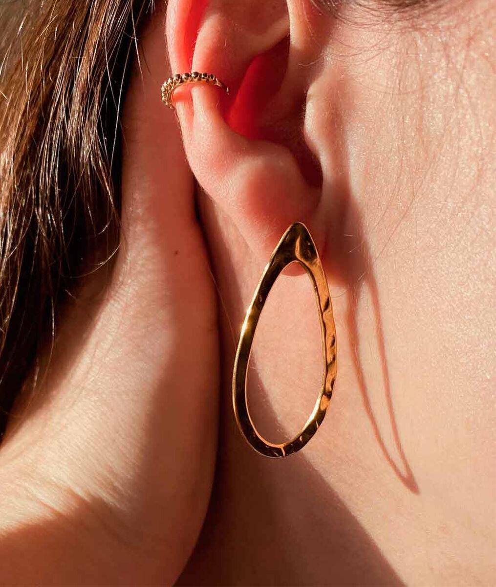 Boucle d'oreilles goutte martelée Bijoux Léone PhotoZ | 1-2-3