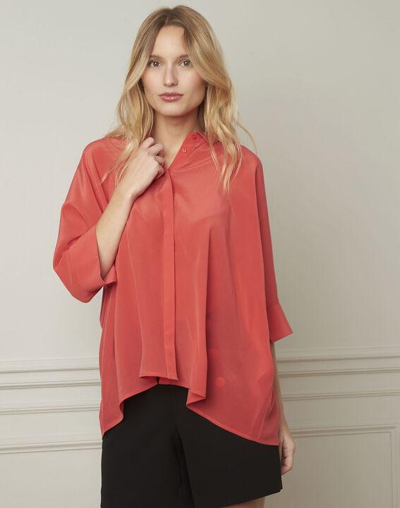 Koraalrode wijde blouse van zijde Vania (1) - Maison 123