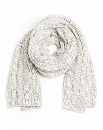 Echarpe écrue point fantaisie laine frederica ecru.