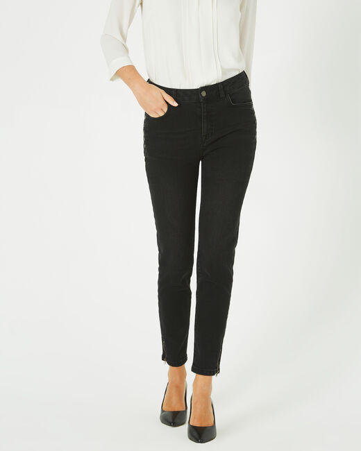 Nori ⅞-length, black zipped jeans (2) - 1-2-3