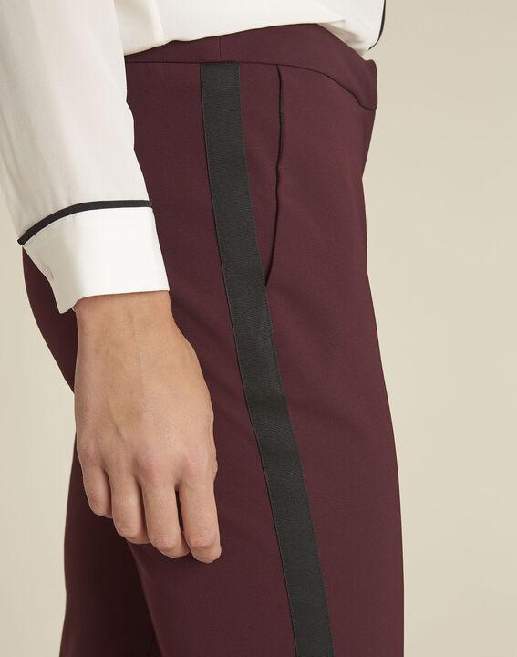 Pantalon bordeaux et sa bande latérale microfibre Suzanne (3) - 1-2-3