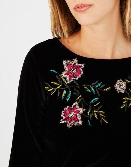 Tee-shirt noir brodé fleurs Bardane (3) - 1-2-3