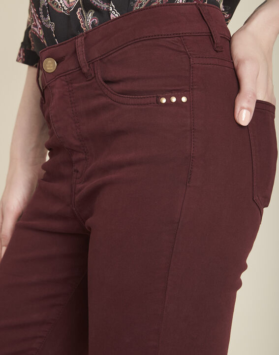 Vendôme 7/8 length slim-cut burgundy cotton satin jeans (3) - 1-2-3