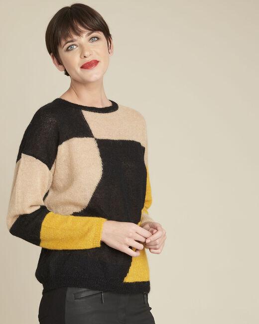 Schwarzer Pullover mit Color-Blocking aus Alpaka und Mohair Bloqui (2) - 1-2-3