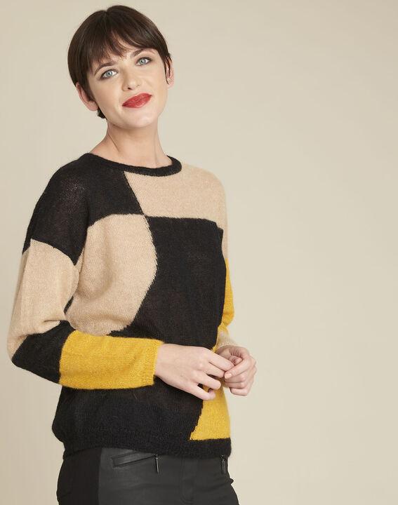 Schwarzer Pullover mit Color-Blocking aus Alpaka und Mohair Bloqui PhotoZ | 1-2-3