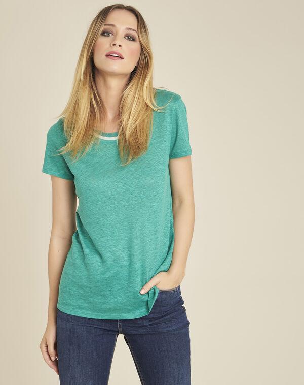Tee-shirt en lin blanc encolure lagon Elu (1) - 1-2-3