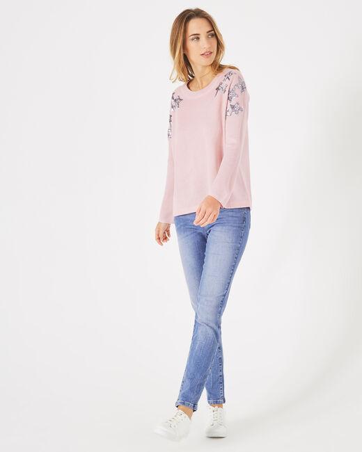 Pull rose pâle à sequins en laine mélangée Paillette (1) - 1-2-3