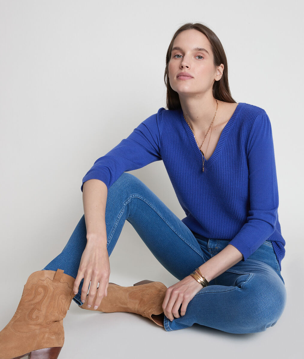 Blauwe trui van dubbel tricot Théa PhotoZ | 1-2-3