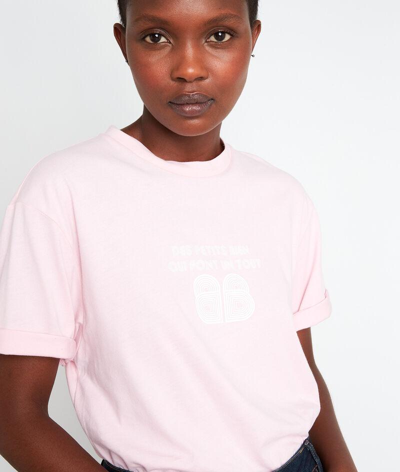 Tee-shirt en coton biologique et modal rose poudré Ecrin PhotoZ | 1-2-3
