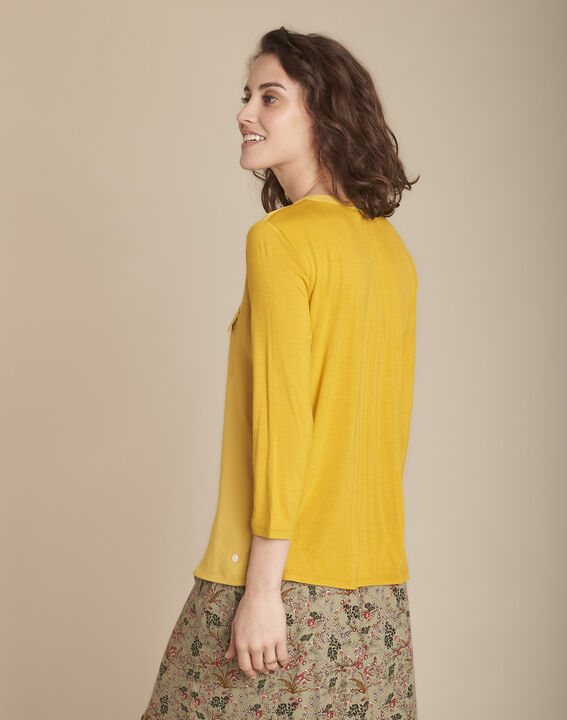 Genna lime green V-neck dual-fabric blouse (4) - 1-2-3