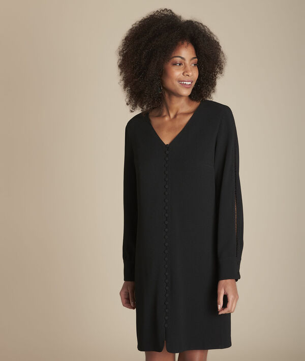 Robe noire à boutons recouverts Isaure PhotoZ | 1-2-3