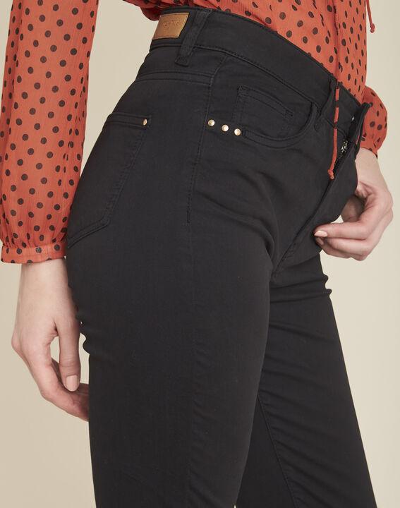 Vendôme 7/8 length slim-cut black cotton satin jeans (3) - 1-2-3