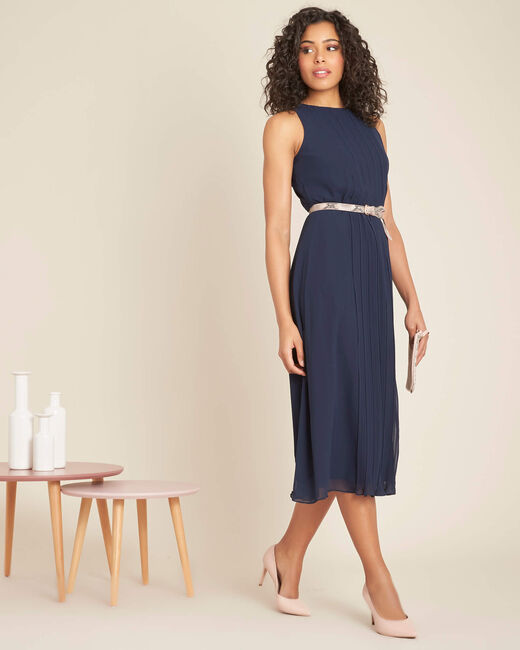 Isabella mid-length navy blue pleated dress (1) - 1-2-3