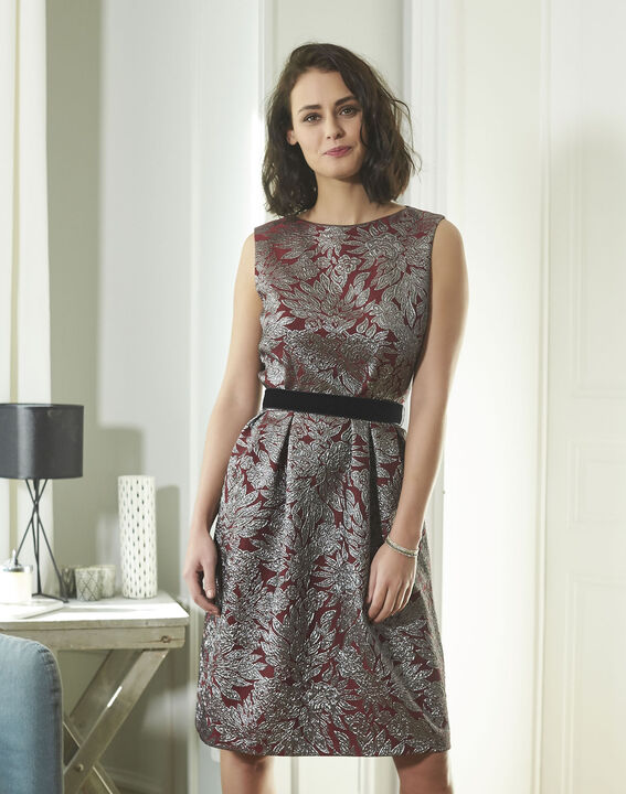 Nocturne Red Jacquard Print Dress (1) - 1-2-3