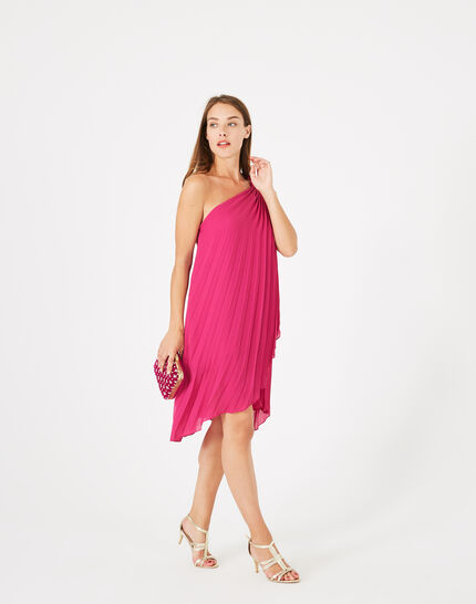 Gabrielle asymmetric raspberry dress (4) - 1-2-3