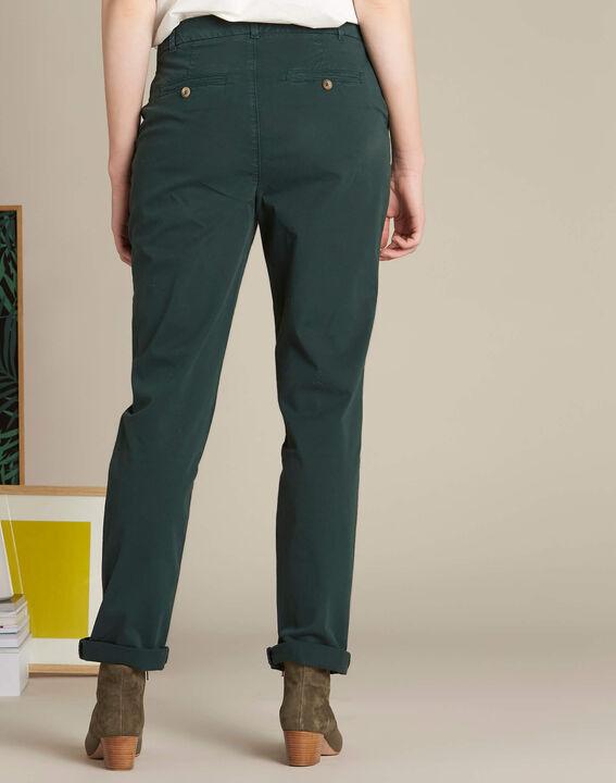 Pantalon vert foncé chino à revers Victoria (4) - 1-2-3