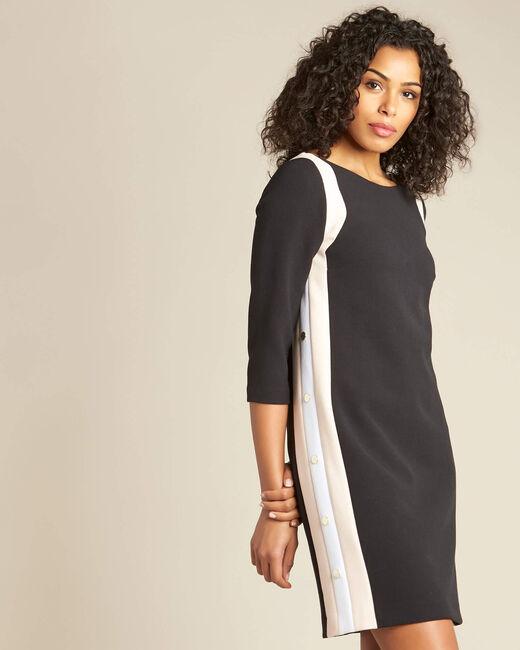 Robe noire patte contrastée et boutons cotés Pistache (2) - 1-2-3