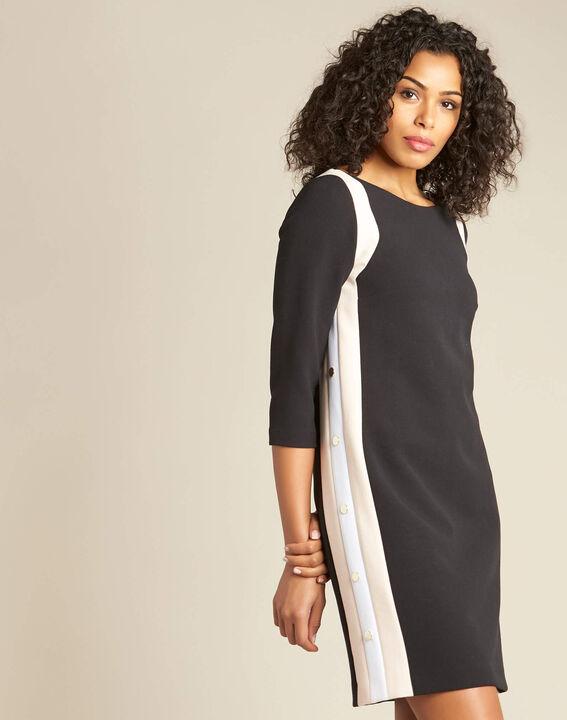 Schwarzes Kleid mit kontrastierender Patte und seitlichen Knöpfen Pistache (3) - 1-2-3