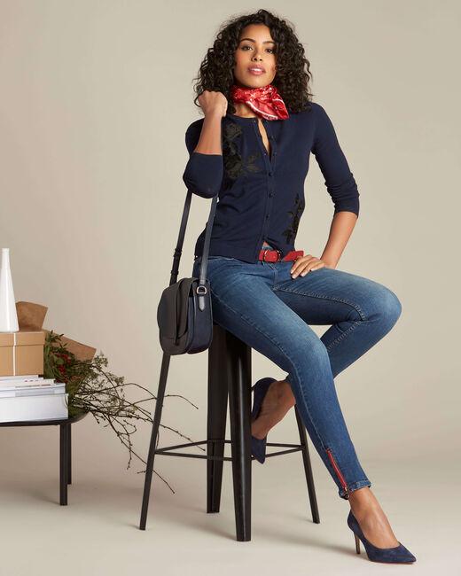Donkerindigo slim fit jeans met ritsen Vendôme (1) - 37653