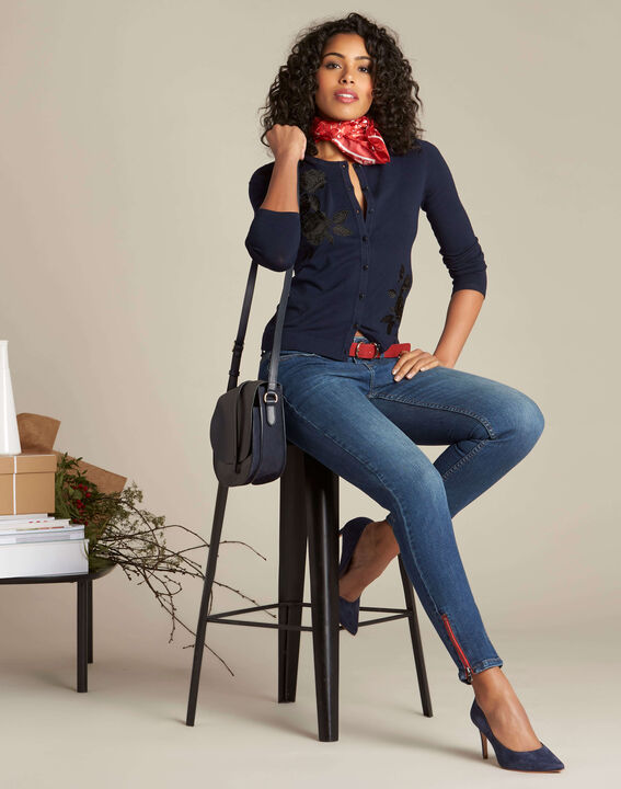 Dunkelblaue Slim-Fit-Jeans mit Reißverschlüssen Vendome (2) - 1-2-3