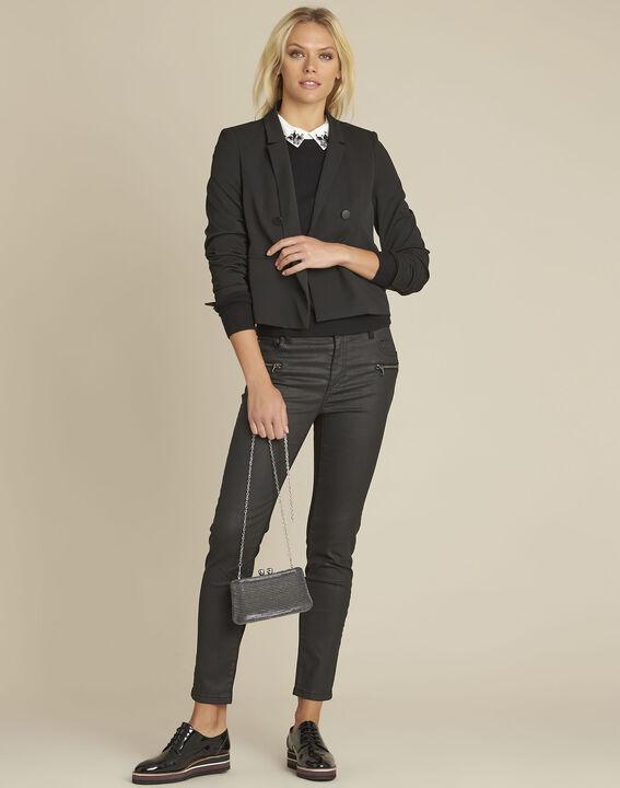 Zweireihige kurze schwarze Jacke Sarah (2) - Maison 123